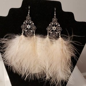 Unbranded Boutique Feather Silver Earrings